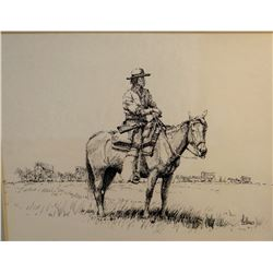 "Fellows, Fred, CAA, original pen/ink, Wagon Master, 8.5"" x 11"""