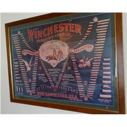 "Winchester Repeating Arms Ammo print, 32"" x 48"", framed"