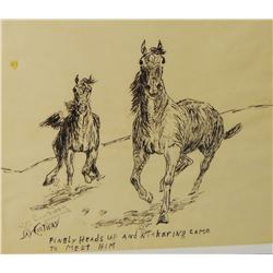 "Contway, Jay pen & ink, Horses, Running Free, 8"" x 11"""