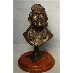 "Wentworth, G. C. (Gerry) bronze, Chief Joseph, 1/30, Powell Fndry, 7.5"" h x 4"" w x 3"" d"