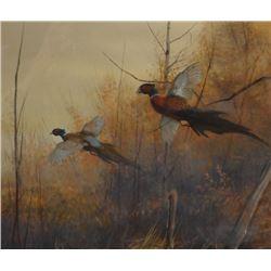 """Sander, Tom, watercolor, Fall Pheasants, 15.5"""" x 10"""""""