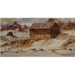 "Spurgeon, Carol (Great Falls, MT) watercolor, The Armington Barn, 10.5"" x 20.5"""