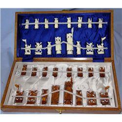 Ivory chess set, 32 pcs, NIB, Hang On Ivory Factory, Hong Kong
