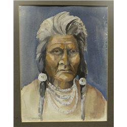 Sander, Tom, Indian portrait, watercolor, 7x9.5
