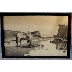 "Knerr, Floyd (Lewistown, MT) original pencil, Cool Water, 1953, 14"" x 22"""
