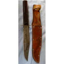 Original Bowie knife w/sheath, chip in handle, marked