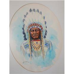 "Rains, William (Billings, MT) original watercolor, Indian Chief, 12"" x 14"", 1978"