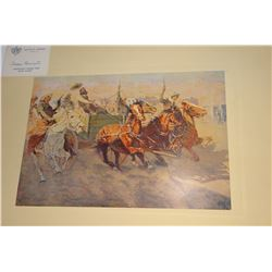 """Remington, Frederic, 4 colored lithos/aged folio, Artist's Proof, all 12.5"""" x 8.5"""", Bringing Home th"""