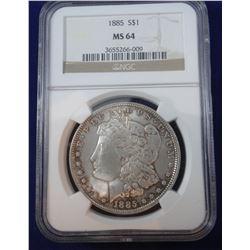 1885 S Morgan dollar, NGC MS 64