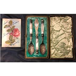 Pearl handled sterling silver table set, 3 pc.
