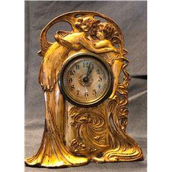 Western Clock Mfg. small mantle clock, working, metal case