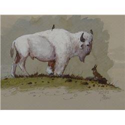 Zivic, William, White Buffalo, watercolor, 9 x 6