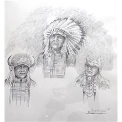 "Cuts The Rope, Clarence, original pen/ink, 3 indian portraits, 1995, 12"" x 16"""
