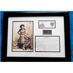 "Annie Oakley portrait with original bullet, 12"" h x 17"" w, 334/1130"