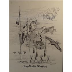 "Cuts The Rope, Clarence print, Gros Ventre Warrior, 1991, 18"" x 22"""