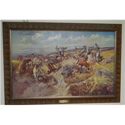 2 C. M. Russell prints, Tight Dally and Riders of the Open Range