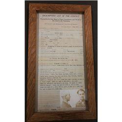 Montana Descriptive List of Convict document, 1922, framed