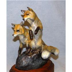 "Sander, Tom bronze sculpture, Two Foxes, #5/50, 8""H x 6.5""w"