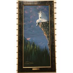 "Pickthorn, Nadine signed print, Risky Business, Mountain Goat, AP 1/10, 32"" w x 14"" h, framed"