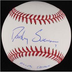 """Dansby Swanson Signed OML Baseball Inscribed """"MLB Debut 8/17/16"""" (MLB Hologram)"""