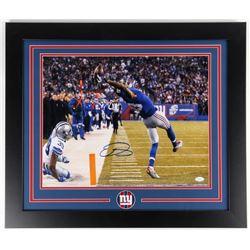 Odell Beckham Jr. Signed Giants 23.5x27.5 Custom Framed Photo Display (JSA COA)