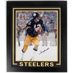 Terry Bradshaw Signed Steelers 23.5x27.5 Framed Photo Display (JSA COA)