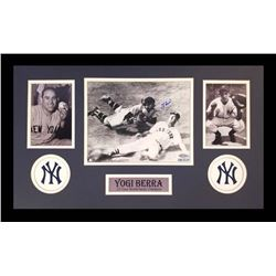 Yogi Berra Signed Yankees 16x26 Custom Framed Photo Display (Steiner Hologram)