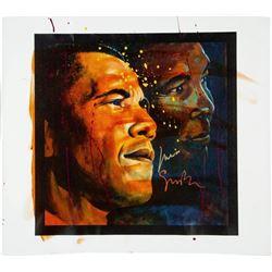 Muhammad Ali  Artist Simon Bull Signed 39x44 Giclee on Canvas (PSA LOA)