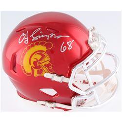 "O.J. Simpson Signed USC Trojans Mini Chrome Speed Helmet Inscribed ""Heisman 68'"" (JSA COA)"