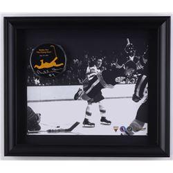 """Bobby Orr Signed 'The Flying Goal' 13.5"""" x 11.5"""" Custom Framed Commemorative Hockey Puck Display (Gr"""