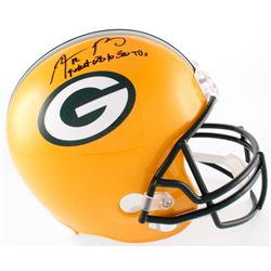 """Aaron Rodgers Signed Packers Full-Size Helmet Inscribed """"Fastest QB to 300 TD"""" (Steiner COA)"""