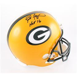 """Brett Favre Signed Packers Full-Size Helmet Inscribed """"HOF 16"""" (JSA COA)"""