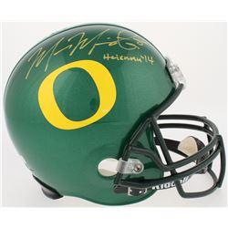 """Marcus Mariota Signed Oregon Ducks Full-Size Helmet Inscribed """"Heisman 14"""" (Mariota Hologram  Radtke"""