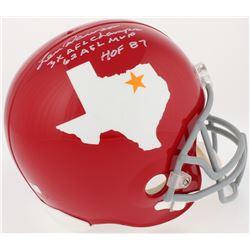 Len Dawson Signed Dallas Texans Throwback Full-Size Helmet With (3) Career Stat Inscriptions (Radtke
