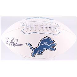 Barry Sanders Signed Lions Logo Football (JSA COA  Schwartz COA)