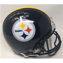 "Antonio Brown Signed Steelers Limited Edition Full-Size Authentic On-Field Helmet Inscribed ""17 Rec"