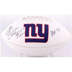 """Michael Strahan Signed Giants Logo White Panel Football Inscribed """"HOF 14"""" (JSA COA)"""