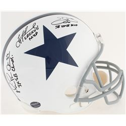 Michael Irvin, Emmitt Smith  Troy Aikman Signed Cowboys Full-Size Helmet with (5) Career Stat Inscri