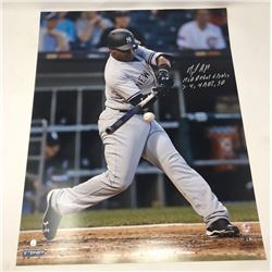 "Miguel Andujar Signed Yankees 16x20 Photo Inscribed ""MLB Debut 6/28/17, 3-4, 4 RBI, SB"" (Steiner Hol"