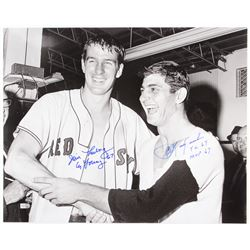Jim Lonborg  Carl Yastrzemski Signed Red Sox 16x20 Photo With Multiple Inscriptions (MLB Hologram)