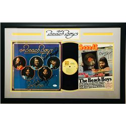 Beach Boys 19x30 Custom Framed Record  Magazine Display Signed by (4) with Carl Wilson, Mike Love, B
