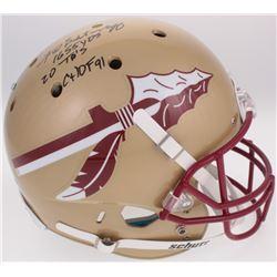 """Fred Biletnikoff Signed Florida State Seminoles Full-Size Helmet Inscribed """"1,655 YDS"""", """"20 TD's"""","""