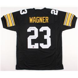 "Mike Wagner Signed Jersey Inscribed ""4x SB Champs"" (Jersey Source COA)"