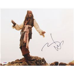 "Johnny Depp Signed ""Pirates of the Caribbean"" 11x14 Photo (PSA Hologram)"