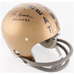 "Roger Staubach Signed Navy Midshipmen Full-Size On-Field Throwback Suspension Helmet Inscribed ""Heis"