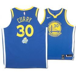 Stephen Curry Signed Warriors Limited Edition Nike Jersey with NBA Back to Back Champions Patch (Ste