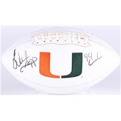 "Warren Sapp Signed Miami Hurricanes Logo Football Inscribed ""94 Lombardi"" (JSA COA)"