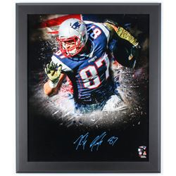 Rob Gronkowski Signed Patriots 27x23 Custom Framed Photo Display (Fanatics Hologram)