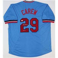 """Rod Carew Signed Jersey Inscribed """"HOF 91"""" (JSA COA)"""