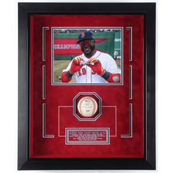 David Ortiz Signed Boston Red Sox 18.75x22.75x3.75 Custom Framed Game-Ready 2013 Postseason Logo Bas